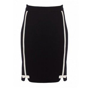 ALANNAH HILL Black Cream Bow Pinup Pencil Skirt XS